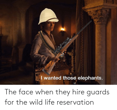 hire: The face when they hire guards for the wild life reservation