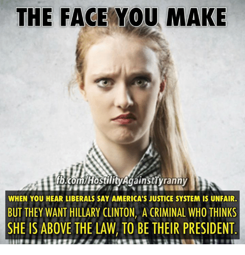 Above the Law: THE FACE YOU MAKE  fb.com/Hostility AgainstTyranny  WHEN YOU HEAR LIBERALS SAY AMERICA'S JUSTICE SYSTEM IS UNFAIR.  BUT THEY WANT HILLARY CLINTON, A CRIMINAL WHO THINKS  SHE IS ABOVE THE LAW, TO BE THEIR PRESIDENT