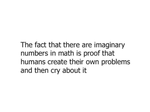 Math, Proof, and Create: The fact that there are imaginary  numbers in math is proof that  humans create their own problems  and then cry about it