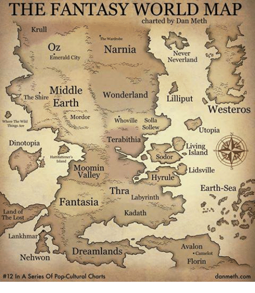 Fantasy World: THE FANTASY WORLD MAP  charted by Dan Meth  Krull.  Wardrobe  Oz  Narnia  Never  Emerald City  Neverland  Middle  Wonderland  Earth  Lilliput  The Shire  Westeros  Mordor Whoville Solla  Where The  Things Are  Sollew  Utopia  Terabithia  Dinotopia  Living  Sodor  Moomin  Lidsville  Valley  Hyrul  Earth Sea  Thra  Fantasia  Labyrinth  Land of  Kadath  Lankhmar  Avalon  Dreamlands  Nehwon  Florin  #12 In A Series Of Pop-Cultural Charts  danmeth.com