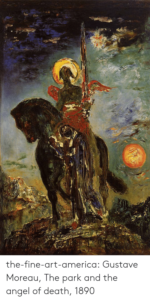 America, Tumblr, and Angel: the-fine-art-america:  Gustave Moreau, The park and the angel of death, 1890