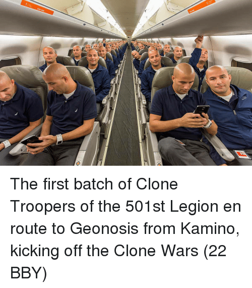 the clone wars: The first batch of Clone Troopers of the 501st Legion en route to Geonosis from Kamino, kicking off the Clone Wars (22 BBY)