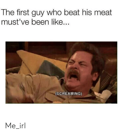 Irl, Me IRL, and Been: The first guy who beat his meat  must've been like..  (SCREAMING) Me_irl