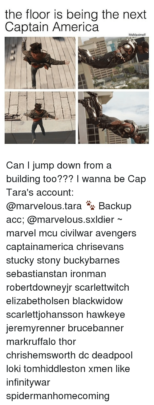 Capping: the floor is being the next  Captain America  MsMaximoff Can I jump down from a building too??? I wanna be Cap Tara's account: @marvelous.tara 🐾 Backup acc; @marvelous.sxldier ~ marvel mcu civilwar avengers captainamerica chrisevans stucky stony buckybarnes sebastianstan ironman robertdowneyjr scarlettwitch elizabetholsen blackwidow scarlettjohansson hawkeye jeremyrenner brucebanner markruffalo thor chrishemsworth dc deadpool loki tomhiddleston xmen like infinitywar spidermanhomecoming