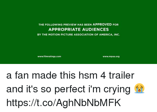 America, Crying, and The Following: THE FOLLOWING PREVIEW HAS BEEN APPROVED FOR  APPROPRIATE AUDIENCES  BY THE MOTION PICTURE ASSOCIATION OF AMERICA, INC.  www.filmratings.com  www.mpaa.org a fan made this hsm 4 trailer and it's so perfect i'm crying 😭 https://t.co/AghNbNbMFK