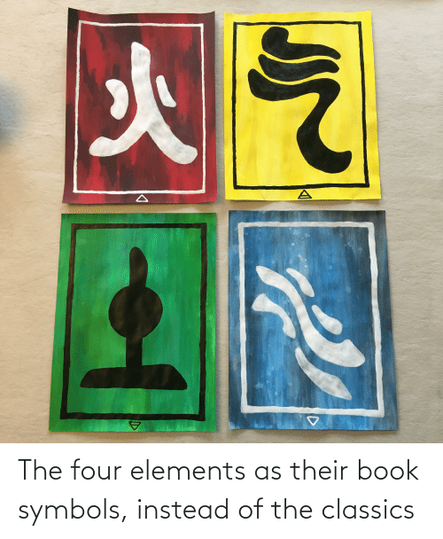 classics: The four elements as their book symbols, instead of the classics