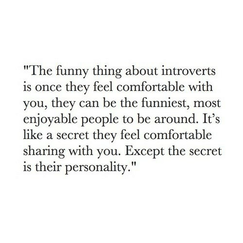"""Comfortable, Funny, and Once: """"The funny thing about introverts  is once they feel comfortable with  you, they can be the funniest, most  enjoyable people to be around. It's  like a secret they feel comfortable  sharing with you. Except the secret  is their personality."""""""