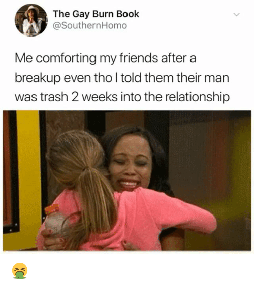 Friends, Memes, and Trash: The Gay Burn Book  @SouthernHomo  Me comforting my friends aftera  breakup even tho l told them their man  was trash 2 weeks into the relationship 🤮
