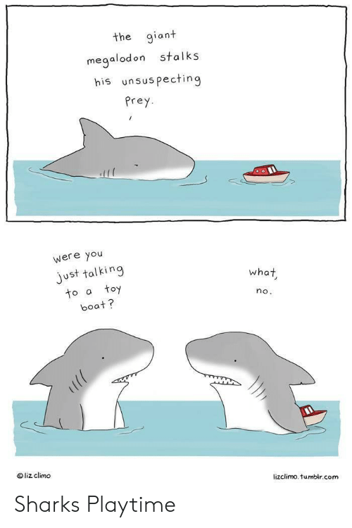 Tumblr, Giant, and Sharks: the giant  stalks  megalodon  his unsuspecting  Prey  were you  just talking  toy  what  to a  no.  boat?  liz climo  lizclimo. tumblr.com Sharks Playtime
