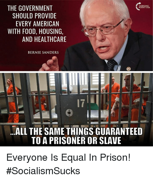 Bernie Sanders, Food, and Memes: THE GOVERNMENT  SHOULD PROVIDE  EVERY AMERICAN  WITH FOOD, HOUSING,  AND HEALTHCARE  BERNIE SANDERS  17  .ALL THE SAME THINGS GUARANTEED  TO A PRISONER OR SLAVE Everyone Is Equal In Prison! #SocialismSucks