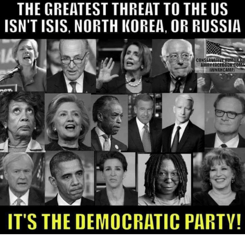 Isis, Memes, and North Korea: THE GREATEST THREAT TO THE US  ISN'T ISIS, NORTH KOREA, OR RUSSIA  CONSERVA  UM  AWRY FACEBOOKCO  IWNRHCAMP/  ITS THE DEMOCRATIC PARTY!