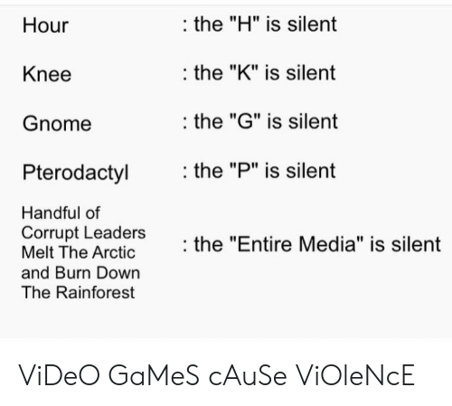 """Video Games, Games, and Video: the """"H"""" is silent  Hour  the """"K"""" is silent  Knee  the """"G"""" is silent  Gnome  the """"P"""" is silent  Pterodactyl  Handful of  Corrupt Leaders  Melt The Arctic  the """"Entire Media"""" is silent  and Burn Down  The Rainforest ViDeO GaMeS cAuSe ViOleNcE"""