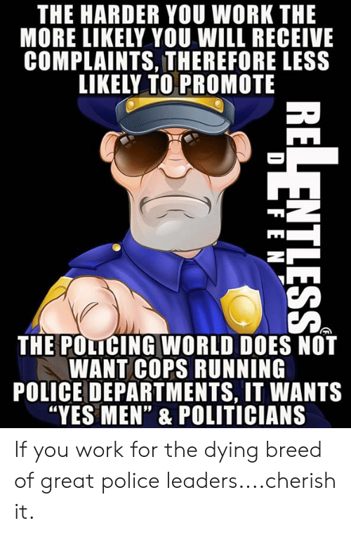 "Does Not Want: THE HARDER YOU WORK THE  MORE LIKELY YOU WILL RECEIVE  COMPLAINTS, THEREFORE LESS  LIKELY TO PROMOTE  THE POLICING WORLD DOES NOT  WANT COPS RUNNING  POLICE DEPARTMENTS, IT WANTS  ""YES MEN"" & POLITICIANS If you work for the dying breed of great police leaders....cherish it."