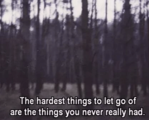 Never, You, and Really: The hardest things to let go of  are the things you never really had.