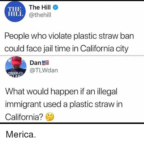 Jail, Memes, and California: THE  HILL  IEThe Hill  @thehill  People who violate plastic straw ban  could face jail time in California city  Dan  @TLWdan  ROOKED  What would happen if an illegal  immigrant used a plastic straw in  California? Merica.