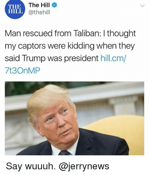 taliban: The Hill  @thehill  THE  HILL  i.  Man rescued from Taliban: I thought  my captors were kidding when they  said Trump was president hill.cm/  7t3OnMP Say wuuuh. @jerrynews