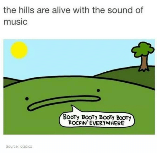 Alive, Booty, and Music: the hills are alive with the sound of  music  BooTy BoOTy BOOTy BOOTy  ROCKIN EVERYWHERE  Source: lolzpicx