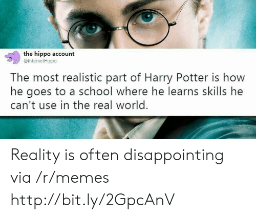 hippo: the hippo account  @InternetHippo  The most realistic part of Harry Potter is how  he goes to a school where he learns skills he  can't use in the real world. Reality is often disappointing via /r/memes http://bit.ly/2GpcAnV