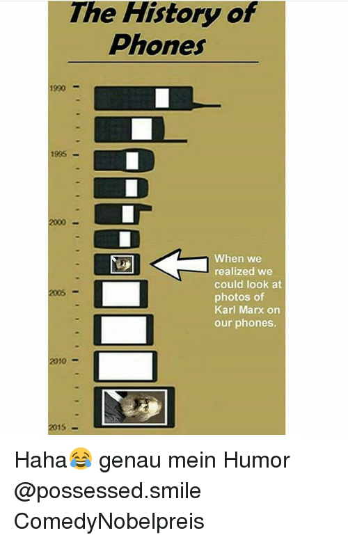 Karling: The History of  Phones  1990  935  2000  When we  realized we  could look at  photos of  Karl Marx on  our phones.  2005-  2010-  2015 Haha😂 genau mein Humor @possessed.smile ComedyNobelpreis