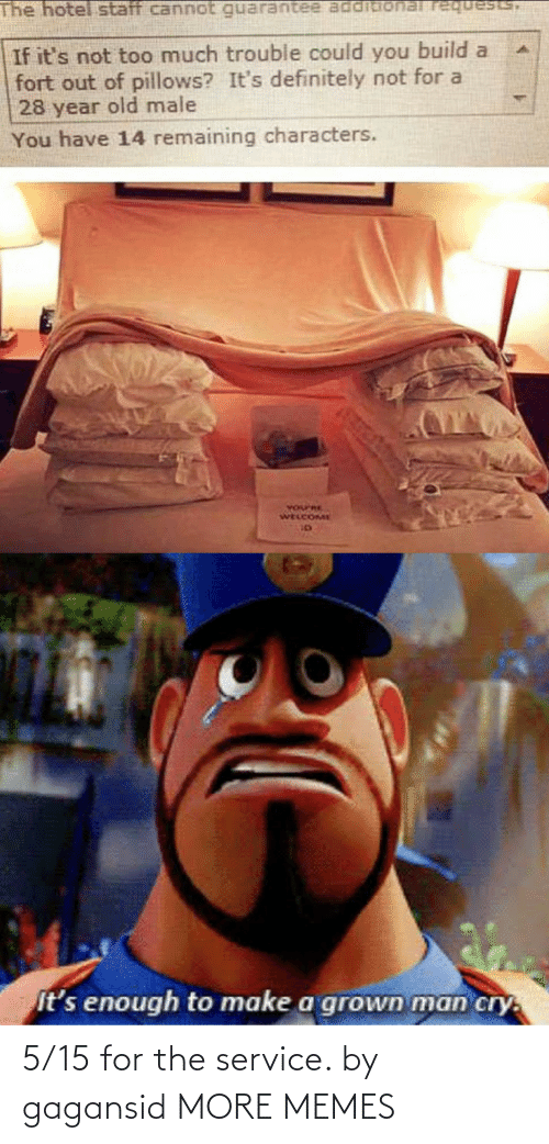 Grown: The hotel staff cannot requests,  If it's not too much trouble could you build a  fort out of pillows? It's definitely not for a  28 year old male  You have 14 remaining characters.  YOurRE  WELCOME  It's enough to make a grown man cry. 5/15 for the service. by gagansid MORE MEMES