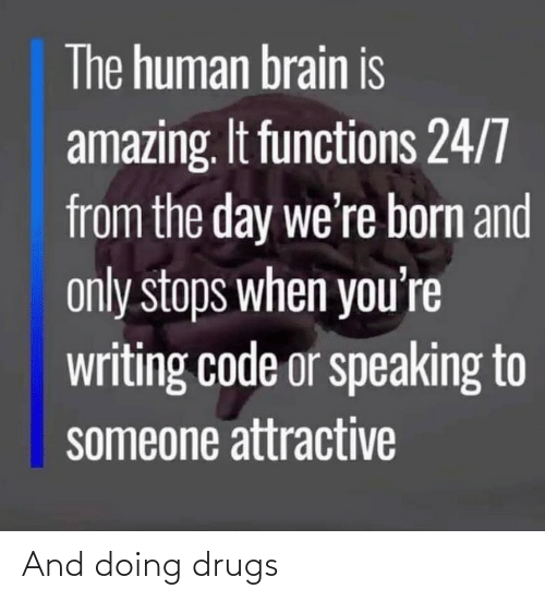 attractive: The human brain is  amazing. It functions 24/7  from the day we're born and  only stops when you're  writing code or speaking to  someone attractive And doing drugs