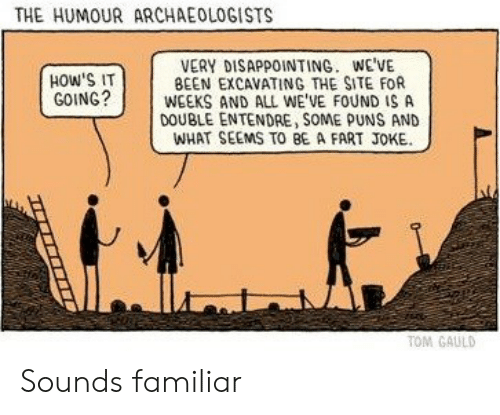 Puns, Been, and Site: THE HUMOUR ARCHAEOLOGISTS  VERY DISAPPOINTING. WE'VE  BEEN EXCAVATING THE SITE FOR  WEEKS AND ALL WE'VE FOUND IS A  DOUBLE ENTENDRE, SOME PUNS AND  WHAT SEEMS TO BE A FART JOKE  HOW'S IT  GOING?  TOM GAULD Sounds familiar