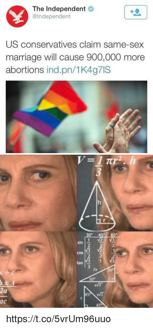 same-sex-marriages: The Independent  @Independent  US conservatives claim same-sex  marriage will cause 900,000 more  abortions ind.pn/1K4g7IS   ur-45s-cor  sin- ve  2  cos  tan  2x  30°  ac  45  1-3  21  Manglein  V  Zu-ac  a-c https://t.co/5vrUm96uuo