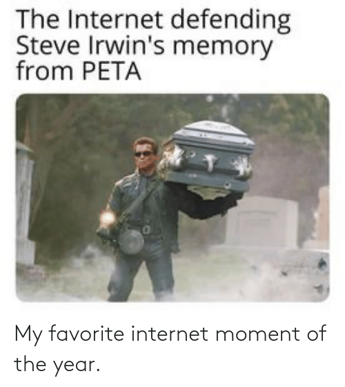 Favorite: The Internet defending  Steve Irwin's memory  from PETA My favorite internet moment of the year.