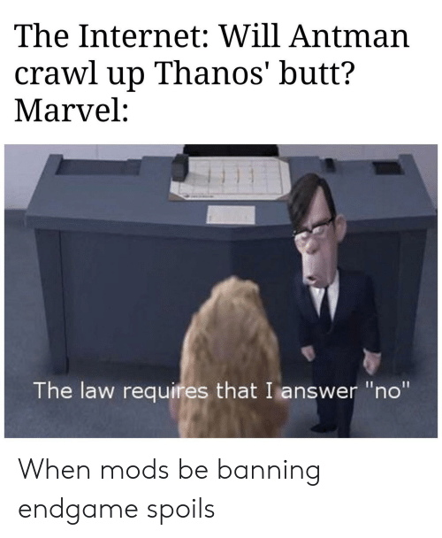 "Butt, Internet, and Antman: The Internet: Will Antman  crawl up Thanos' butt?  Marvel:  The law requires that I answer ""no"" When mods be banning endgame spoils"