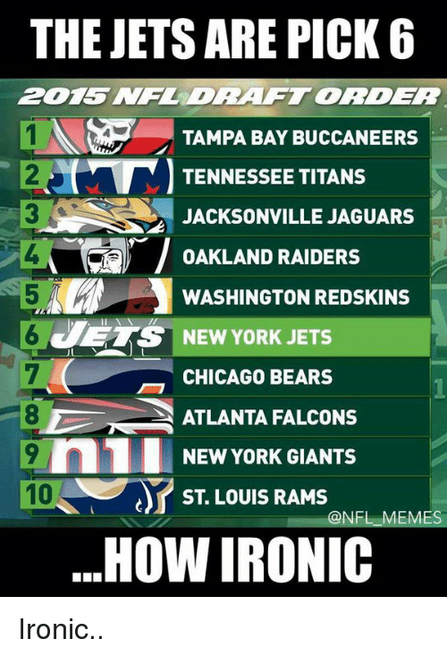 Chicago Bear: THE JETS ARE PICK 6  TAMPA BAY BUCCANEERS  TENNESSEE TITANS  JACKSONVILLE JAGUARS  T OAKLAND RAIDERS  WASHINGTON REDSKINS  ETS NEW YORK JETS  CHICAGO BEARS  ATLANTA FALCONS  9 n1 NEW YORK GIANTS  ST LOUIS RAMS  @NFL MES  HOW IRONIC Ironic..