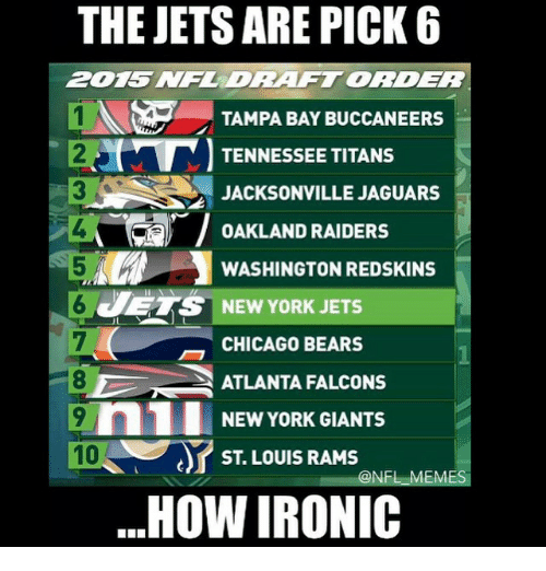 Chicago Bear: THE JETS ARE PICK 6  ZDRAFTORDER  1N TAMPA BAY BUCCANEERS  TENNESSEE TITANS  JACKSONVILLE JAGUARS  OAKLAND RAIDERS  WASHINGTON REDSKINS  JETS NEW YORK JETS  CHICAGO BEARS  ATLANTA FALCONS  n1 NEW YORK GIANTS  10  ST LOUIS RAMS  ONFL EM  HOW IRONIC