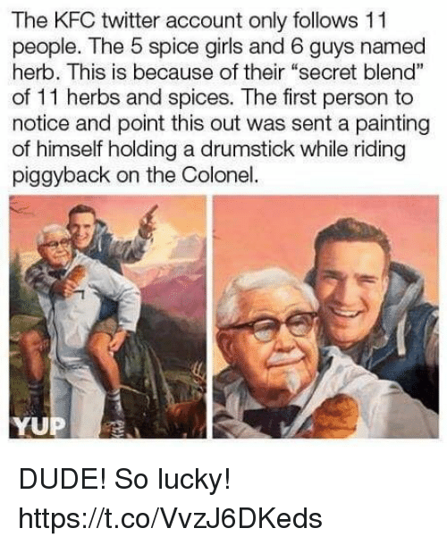 """Dude, Funny, and Girls: The KFC twitter account only follows 11  people. The 5 spice girls and 6 guys named  herb. This is because of their """"secret blend""""  of 11 herbs and spices. The first person to  notice and point this out was sent a painting  of himself holding a drumstick while riding  piggyback on the Colonel.  YUP DUDE! So lucky! https://t.co/VvzJ6DKeds"""