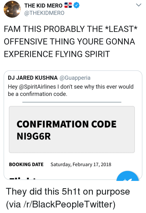 Blackpeopletwitter, Fam, and Booking: THE KID MERO  @THEKIDMERO  FAM THIS PROBABLY THE *LEAST*  OFFENSIVE THING YOURE GONNA  EXPERIENCE FLYING SPIRIT  JARED KUSHNA @Guapperia  Hey @SpiritAirlines I don't see why this ever would  be a confirmation code.  CONFIRMATION CODE  NI9G6R  BOOKING DATE  Saturday, February 17, 2018 <p>They did this 5h1t on purpose (via /r/BlackPeopleTwitter)</p>