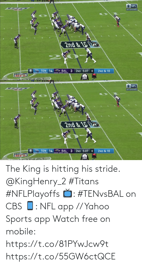 2: The King is hitting his stride. @KingHenry_2 #Titans #NFLPlayoffs  📺: #TENvsBAL on CBS 📱: NFL app // Yahoo Sports app Watch free on mobile: https://t.co/81PYwJcw9t https://t.co/55GW6ctQCE