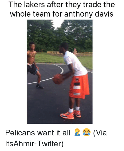 Basketball, Los Angeles Lakers, and Nba: The lakers after they trade the  whole team for anthony davis Pelicans want it all 🤦‍♂️😂 (Via ‪ItsAhmir‬-Twitter)