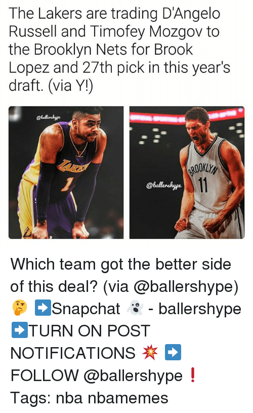 Brook Lopez: The Lakers are trading D'Angelo  Russell and Timofey Mozgov to  the Brooklyn Nets for Brook  Lopez and 27th pick in this year's  draft. (via Y!)  @Balaerskype. Which team got the better side of this deal? (via @ballershype)🤔 ➡Snapchat 👻 - ballershype ➡TURN ON POST NOTIFICATIONS 💥 ➡ FOLLOW @ballershype❗ Tags: nba nbamemes