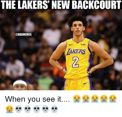 Los Angeles Lakers, Nba, and When You See It: THE LAKERS' NEW BACKCOURT  @NBAMEMES  wish  AKERS When you see it.... 😭😭😭😭😭😭💀💀💀💀💀