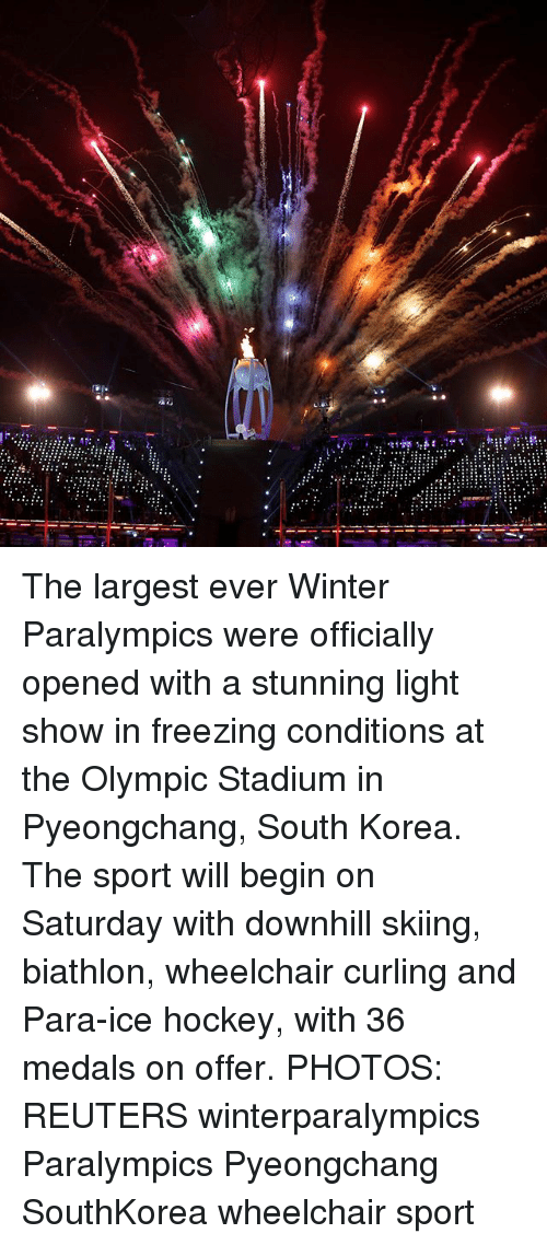 skiing: The largest ever Winter Paralympics were officially opened with a stunning light show in freezing conditions at the Olympic Stadium in Pyeongchang, South Korea. The sport will begin on Saturday with downhill skiing, biathlon, wheelchair curling and Para-ice hockey, with 36 medals on offer. PHOTOS: REUTERS winterparalympics Paralympics Pyeongchang SouthKorea wheelchair sport