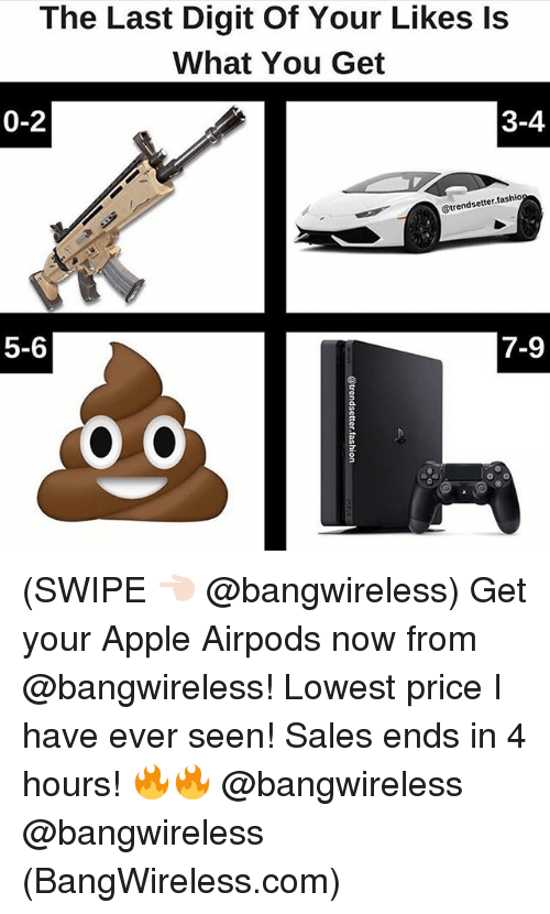 Apple, Funny, and Com: The Last Digit Of Your Likes ls  What You Get  0-2  3-4  @trendsetter.fashio  5-6  7-9 (SWIPE 👈🏻 @bangwireless) Get your Apple Airpods now from @bangwireless! Lowest price I have ever seen! Sales ends in 4 hours! 🔥🔥 @bangwireless @bangwireless (BangWireless.com)
