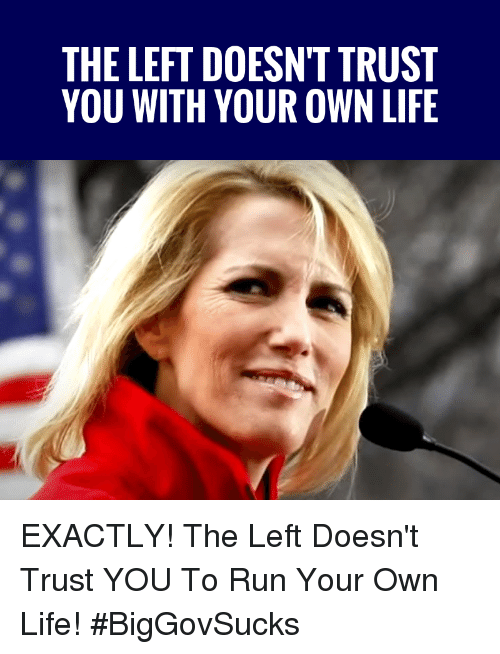 Life, Memes, and Run: THE LEFT DOESN'T TRUST  YOU WITH YOUR OWN LIFE EXACTLY! The Left Doesn't Trust YOU To Run Your Own Life! #BigGovSucks