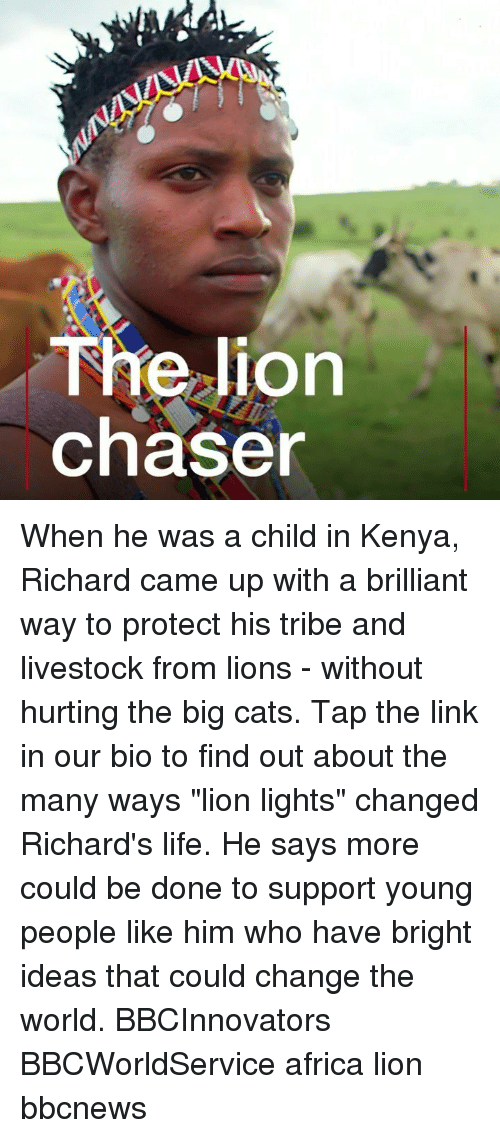 "richards: The lion  chaser When he was a child in Kenya, Richard came up with a brilliant way to protect his tribe and livestock from lions - without hurting the big cats. Tap the link in our bio to find out about the many ways ""lion lights"" changed Richard's life. He says more could be done to support young people like him who have bright ideas that could change the world. BBCInnovators BBCWorldService africa lion bbcnews"