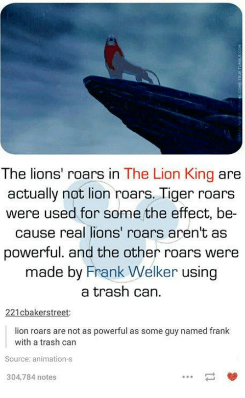 Trash, The Lion King, and Lion: The lions' roars in The Lion King  are  actually not lion roars. Tiger roars  were used for some the effect, be  cause real lions' roars aren't as  powerful. and the other roars were  made by Frank Welker using  a trash can.  cbakers treet  lion roars are not as powerful as some guy named frank  with a trash can  Source: animation-s  304,784 notes