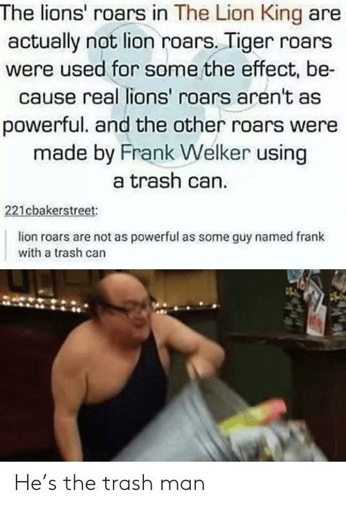 The Lion King: The lions' roars in The Lion King are  actually not lion roars. Tiger roars  were used for some the effect, be-  cause real lions' roars aren't as  powerful. and the other roars were  made by Frank Welker using  a trash can.  221cbakerstreet:  lion roars are not as powerful as some guy named frank  with a trash can He's the trash man