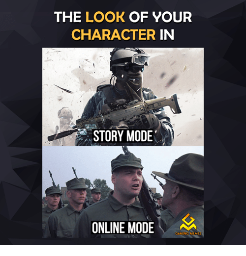 Gaming Memes: THE LOOK OF YOUR  CHARACTER  IN  STORY MODE  ONLINE MODE  GAMING MEMES