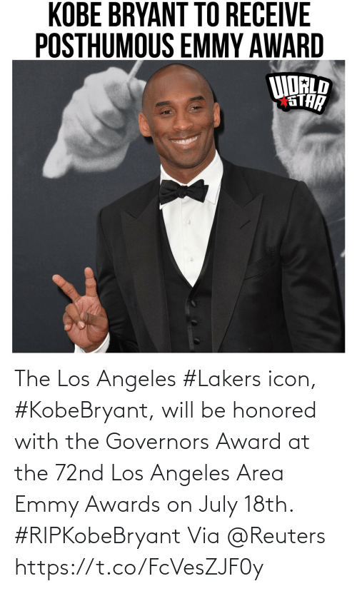 award: The Los Angeles #Lakers icon, #KobeBryant, will be honored with the Governors Award at the 72nd Los Angeles Area Emmy Awards on July 18th. #RIPKobeBryant Via @Reuters https://t.co/FcVesZJF0y