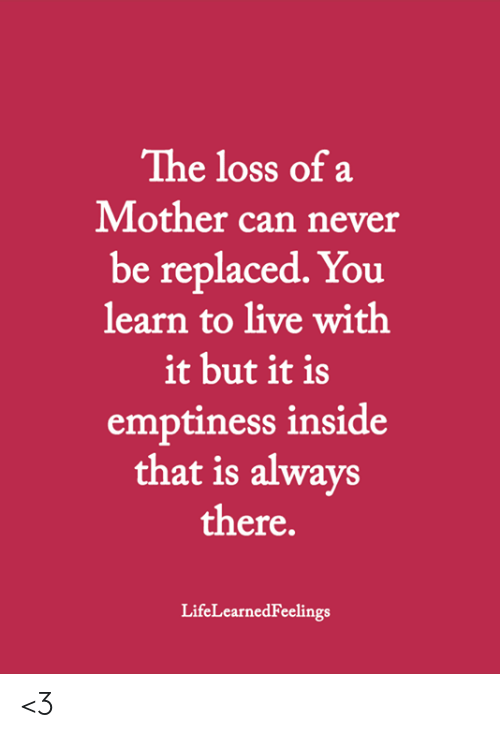 emptiness: The loss of a  Mother can never  be replaced. You  learn to live with  it but it is  emptiness inside  that is always  there.  LifeLearnedFeelings <3
