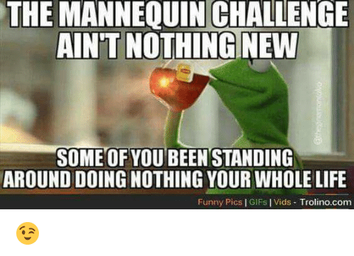 The Mannequin: THE MANNEQUIN CHALLENGE  AINT NOTHING NEW  SOME OF YOU BEEN STANDING  AROUND DOING NOTHING YOUR WHOLE LIFE  Funny Pics l GIFs IVids Trolino.com 😉