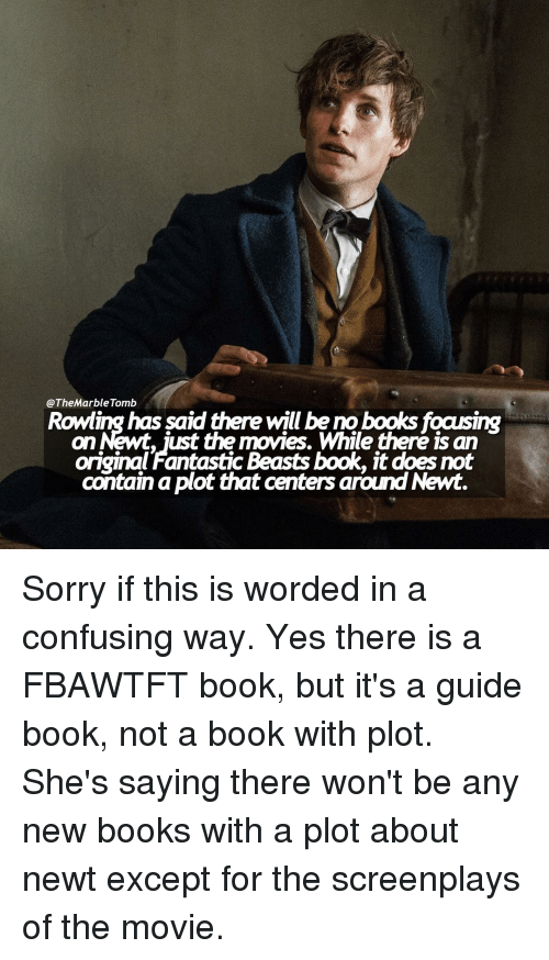 Book It: @The Marble Tomb  has aid there will be no on Newt, just the movies. While there is an  original Fantastic Beasts book, it does not  contain plot that centers around Newt. Sorry if this is worded in a confusing way. Yes there is a FBAWTFT book, but it's a guide book, not a book with plot. She's saying there won't be any new books with a plot about newt except for the screenplays of the movie.