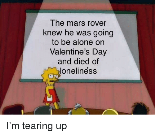 Being Alone, Valentine's Day, and Mars: The mars rover  knew he was going  to be alone on  Valentine's Day  and died of  loneliness I'm tearing up