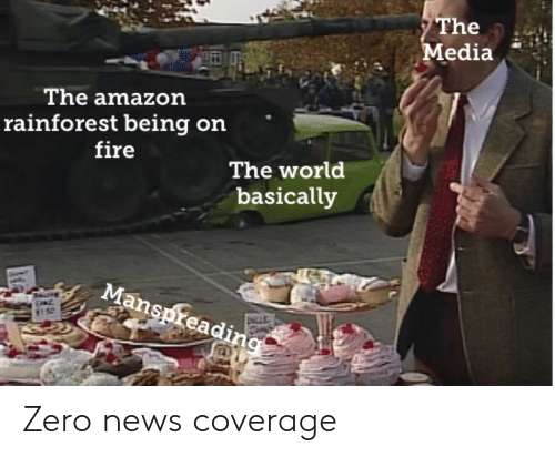 Amazon, Fire, and News: The  Media  The amazon  rainforest being on  fire  The world  basically  Manspreading Zero news coverage